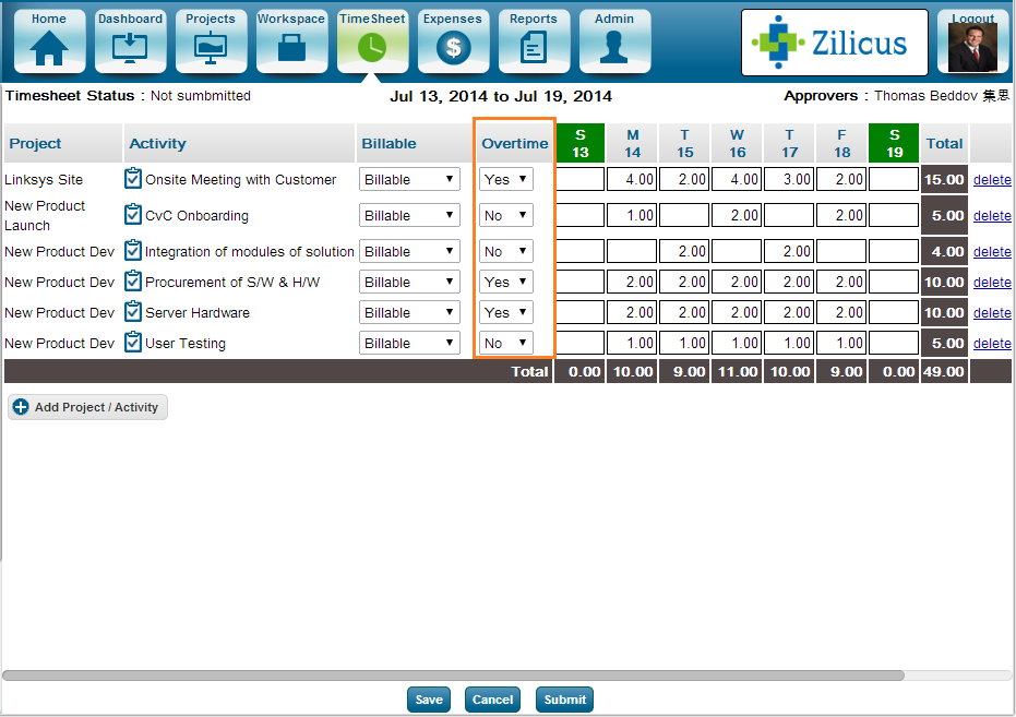 Time Tracking Software Expenses Tracking Tool Zilicuspm Tour